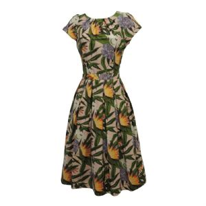 New Pink Green Hawaiian WWII 1930's 40's VTG Retro style Swing Tea Dress